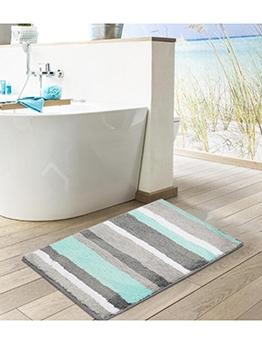 Contrast Color Double Striped Water Absorbing Doormat