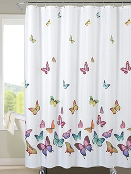 Modern Colorful Butterfly With Hooks Bath Curtain