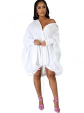 Single-Breasted Drawstring Hem Loose Ladies Dress