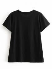 Tiger Printed Causal Short Sleeve Black T Shirt
