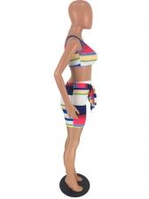 U Neck Sleeveless Striped Two Piece Short Set
