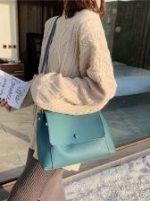 Wide Belt Large Capacity Solid Ladies Handbags
