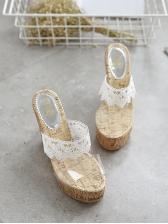 Lace Patchwork Transparent Espadrille Wedges