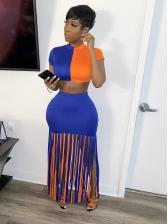 Contrast Color Tassel Hem Two Piece Skirt Set