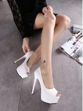 Embossed Peep Toe Stiletto Platform Heels