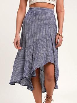 Spring Irregular Hem Midi Skirt