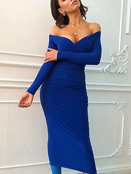 Deep V Long Sleeve Off The Shoulder Dress