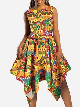 Summer Irregular Printed Sleeveless Ladies Dress