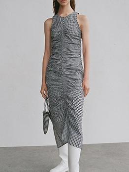 Plaid Ruched Sleeveless Maxi Dress