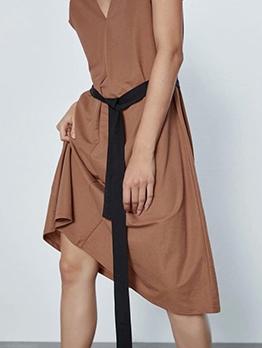 Casual Solid V Neck Sleeveless Midi Dress