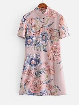 Chinese Style Flower Printed Short Sleeve Dress