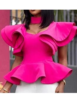 Corrugated Edge Back Zipper Solid Fashion Blouse