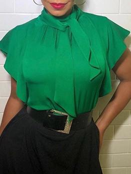 Tie Neck Ruffled Sleeve Summer Green Ladies Blouse