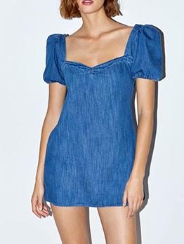 Puff Sleeve Square Neck Short Denim Dress