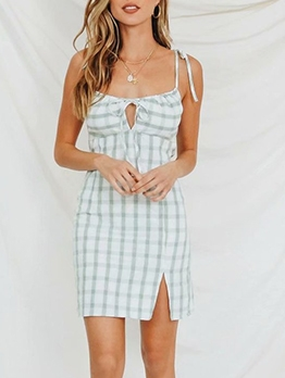 Vintage Tie Shoulder Plaid Split Short Sleeveless Dress
