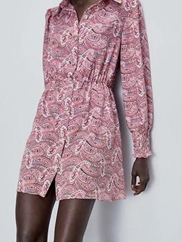 Turndown Collar Printed Long Sleeve Short Dress