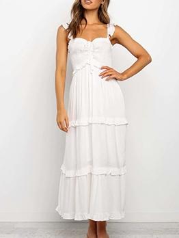 Stringy Selvedge White Sleeveless Midi Dress