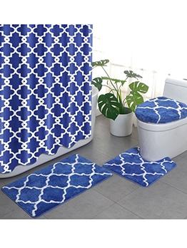 Bathroom Anti-Slip Flocking Doormats Four Piece Set