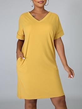 V Neck Solid Short Sleeve T-shirt Dress