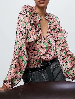 Fashion Ruffled Chiffon Floral Blouse
