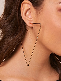 Exaggerated Solid Geometric Triangle Earrings Design