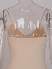 Sexy Tassels Patchwork Rhinestone Slip Ladies Dress