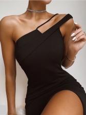 Solid Inclined Shoulder Split Party Dresses