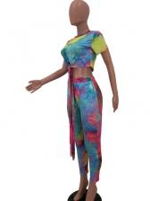 Chic Gradient Color Tie Bow Crop Top And Pants Set