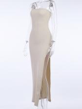Slim Fit Solid High Slit Summer Maxi Dresses