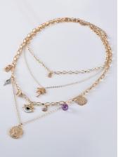 Stylish Leaf Eye Decor Layered Necklace