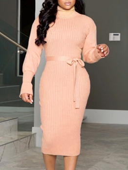 High Neck Blush Long Sleeve Dress For Women