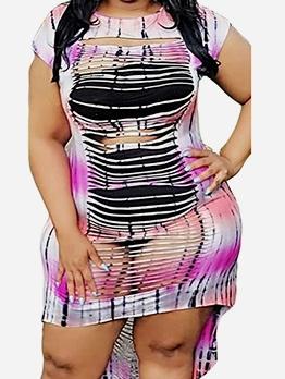High-Low Hollow-Out Short Sleeve Summer Dress