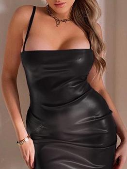 Seductive Slip Pu Mini Bodycon Dress