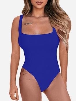 Square Neck Sleeveless Pure Color Bodycon Bodysuit