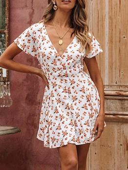 Single-Breasted v Neck Printed Ladies Dress
