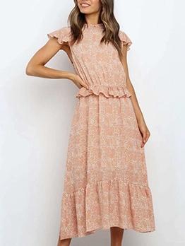 Summer Ruffled Trim Short Sleeve Printed Maxi Dress