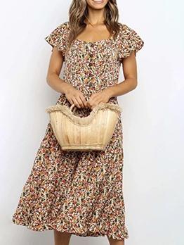 Square Neck Short Sleeve Floral Maxi Dress