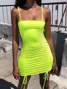 Bright Color Front Drawstring Sleeveless Bodycon Dress