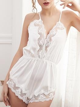 Sexy Patchwork Sleeveless Silk Pajamas