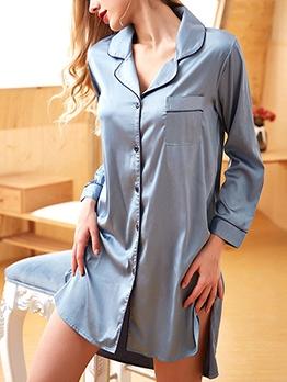 Comfortable Loose Long Sleeve Dress Womens Sleepwear