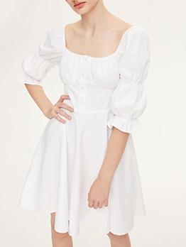 Square Neck White Short Sleeve Dress