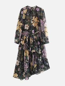 Flower Print Irregular Hem Long Sleeve Dress