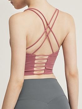 Pure Color Criss Cross Back Yoga Top