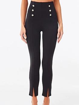 Button Decor Black High Waisted Pants