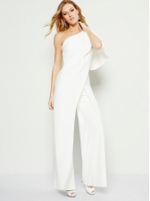 Inclined Shoulder Solid Straight Leg Ladies Jumpsuits