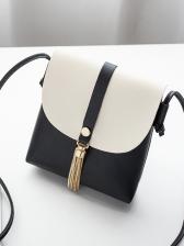 Tassel Pendant Contrast Color Small Crossbody Bags