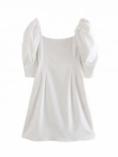 Square Neck Puff Sleeve Short Summer Dresses