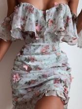 Ruffled Stereo Flower Short Sleeve Summer Dresses