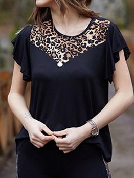 Summer Leopard Panel Crew Neck T-shirt