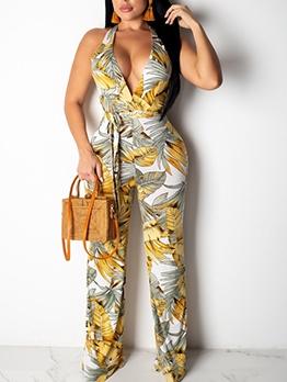 Fashion Printed V Neck Sleeveless Wide Leg Jumpsuit